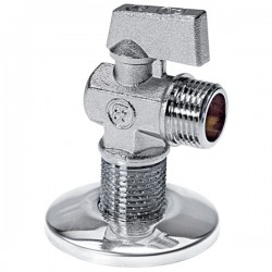 Brass Form 311 Petit γωνιακός σφαιρικός διακόπτης διάσταση ½ x ½ με σπείρωμα μακρύ 28 mm χρωμέ